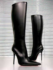 CQ COUTURE CUSTOM KNEE HIGH BOOTS STIEFEL STIVALI POINTY LEATHER BLACK NERO 44