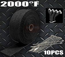 BLACK 2000F EXHAUST HEAT 15M X 50MM WRAP 4X4 TOYOTA LANDCRUISER HILUX COMP TRUCK