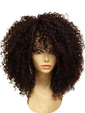Afro Curly Synthetic Medium Short Wigs Full Bang For Women Coffee Black Hair NEW