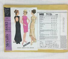 Vtg McCalls 8493 Pauline Trigere 1960s Fishtail Sheath Dress Pattern B34 Uncut