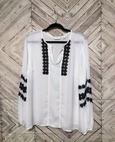 New York & Company White V Neck Black Lace Trim Peasant Tunic Blouse Womens 2XL