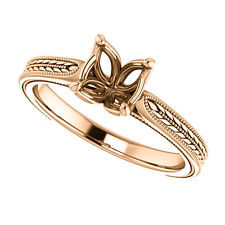 Semi Mount Setting Sculptural Vintage Rose Gold Engagement Ring for Round Stone