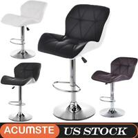 Set of 2 Bar Stool Leather Modern Hydraulic Swivel Dinning Chair Pub Pair Stools