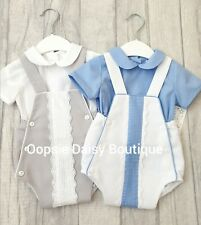 Spanish Style Baby Boy Blue and White Striped Bib Dungaree Romper and Top Set