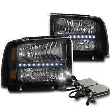 2005 2006 2007 FORD F250 F350 F450 F550 SD BLACK LED HEADLIGHTS LAMP W/8000K HID