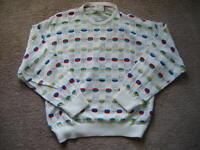 COOGI AUSTRALIA Vtg White /Multi color Eyelet Cotton Sweater-Bust 47/Men M
