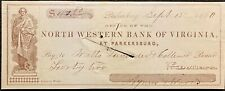 1860  *PRE CIVIL WAR* NORTH WESTERN BANK OF VIRGINIA $42.80 VIGNETTE BANK CHECK!