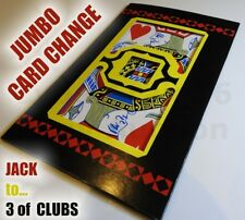 JUMBO BICYCLE CARD CHANGE JACK HEARTS TO 3 SPADES MAGIC TRICK ENVELOPE STAGE NEW