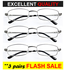 3x SUPERB Metal Frame Reading Glasses - Lightweight, Unisex, Stylish, Strong NEW