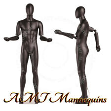 MALE FULL BODY MANNEQUINS FLEXIBLE ARMS, High End, BLACK mannequin # HMC1-1-DS