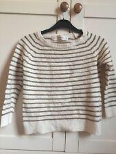 Zara Knit Wool Cream Beige Gold Striped Jumper Crop Top