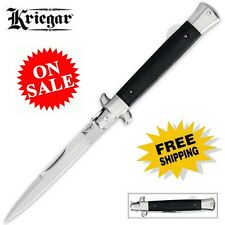"Kriegar 9"" Stiletto Lockback Folding Knife Black Wood Handle NEW Fast Shipping!"