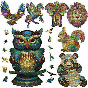 Puzzle Wooden Jigsaw Unique Animal Shape Home Decor Adult Children Toy Kids Gift