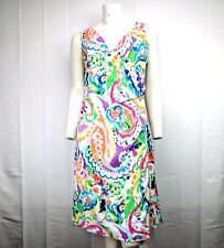Lauren Ralph Lauren Watercolor Paisley Faux Wrap A-Line Crepe Dress Size 4 NWOT