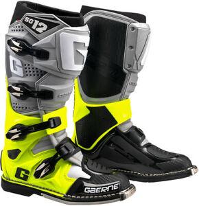 Gaerne SG-12 MX Boots Grey/Yellow Off-road ATV BMX MTB Premium Boots All Sizes