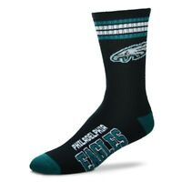 Philadelphia Eagles For Bare Feet NFL 4-Stripe Deuce Crew Socks SZ M