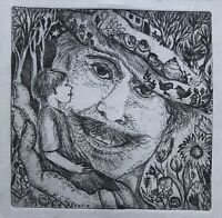 Karin Goebel Radierung Surrealismus Radierung Porträt Lachender Mann Komposition