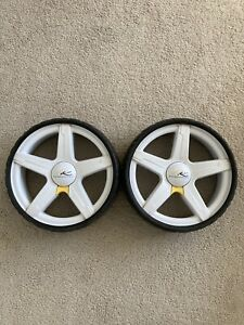 Pair of PowaKaddy Wide Golf Trolley Wheels - Good Used Condition - 9cm Wide