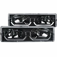 ANZO (111299) 1988-1998 Chevrolet C1500 Crystal Headlights Black w/ Low - Brow