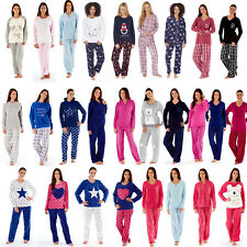 Womens/Ladies Fleece Long Sleeve Pyjamas Pyjama PJ Nightwear Set Size 8-22