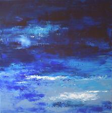 TABLEAU ABSTRAIT original signé PEINTURE de H.Zen, Paysage -DEEP BLUE SEA- 60x60