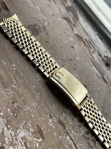 OMEGA Beads of Rice Vintage Gold Plated Watch Bracelet 1037 18mm Ends (513)