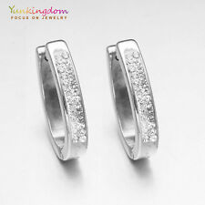 Luxurious Small Clear Round Cubic Zircon White Gold Plated Lady Hoop Earrings