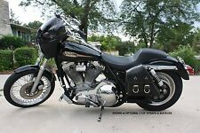 Harley DYNA 82-94 FXR LEFT Side BLACK SOLO BAG Saddlebag - BAD&G CustomS