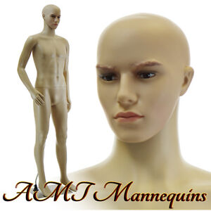 6ft1tall Male mannequin removable head/ bent arm +Metal stand manikin-F01B