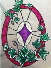 faux stained glass pretty oval ivy window cling
