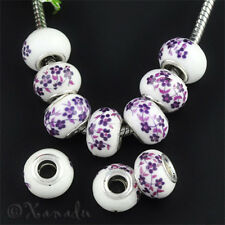 2PCs Purple Flower Decals Porcelain Eurpean Beads For European Charm Bracelets