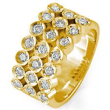 1.30 Ct Round Three Row Men's Diamond G VS1 Wedding Band Ring 14k Gold Yellow
