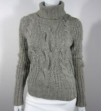 ESPRIT Long Sleeve Cabled Turtleneck Sweater Size S Small Solid Gray