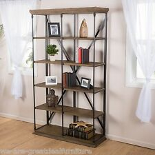 Home Office Furniture 5-Shelf Industrial Dark Khaki Wood Storage Shelf Bookcase