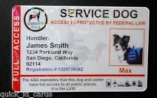 HOLOGRAPHIC SERVICE DOG ID CARD FOR SERVICE ANIMAL ADA RATED  8 R H