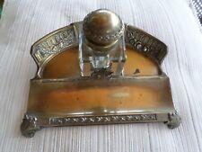 Ancien Encrier-porte plume-bronze/laiton-Art-Déco-INKWELL