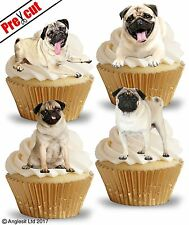PRE-CUT PUGS EDIBLE WAFER PAPER CUP CAKE TOPPERS BIRTHDAY PARTY DECORATIONS
