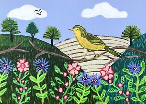 Original Painting Warbler In Hedgerow,Folk/naive Art,Bird,Flowers,Country