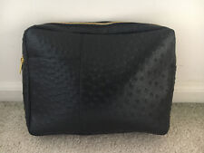New Lord And Taylor Black Faux Ostrich Zippered Clutch