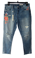 Blank NYC Size 28 Crop Girlfriend Distressed Floral Embroidered Blue Jeans