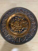 Vintage Copper Craft Guild Solid Copper Grape Design Wall Hanging Plate.