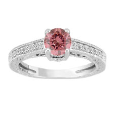 Enhanced Pink Diamond Engagement Ring, 0.69 Carat 14K White Gold Certified