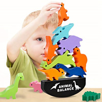 GIFT4KIDS Dinosaur Toys for 3+ Year Old Boys Girls Gifts, Wooden Building Blocks