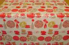 NEW PER METRE RED TEACUPS SAUCERS & FLOWERS PVC OILCLOTH FABRIC - WIPE CLEAN!