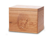 Wood Cremation Urn. Standard model with a Natural Finish and a Deer Image