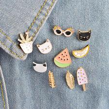 Set of 10 small Summer cats hard enamel lapel pins  cute kawaii fruit cute food