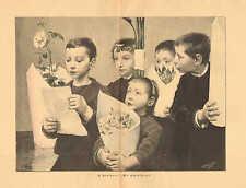 Children, Our Gratitude, Flowers, Church, Vintage 1894 German Antique Art Print