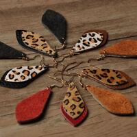 Trendy Women Leopard Leather Earrings Fashion Leaf Hook Dangle Drop Jewelry Gift