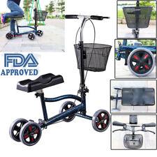 Foldable Steerable Knee Walker Scooter Turning Brake Basket Cart FDA Approved