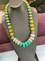 """Ladies Large Bib Statement Necklace Chunky Green Shades  Beaded Lucite Gold 24"""""""